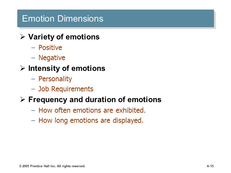 © 2005 Prentice Hall Inc. All rights reserved.4–15 Emotion Dimensions  Variety of emotions –Positive –Negative  Intensity of emotions –Personality –