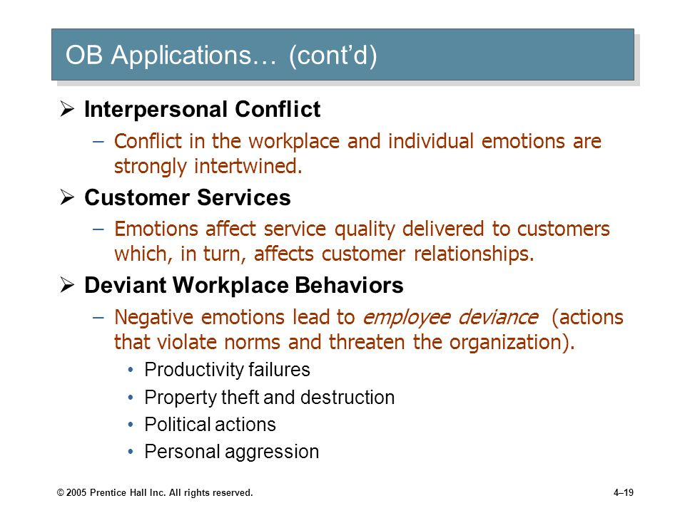 © 2005 Prentice Hall Inc. All rights reserved.4–19 OB Applications… (cont'd)  Interpersonal Conflict –Conflict in the workplace and individual emotio