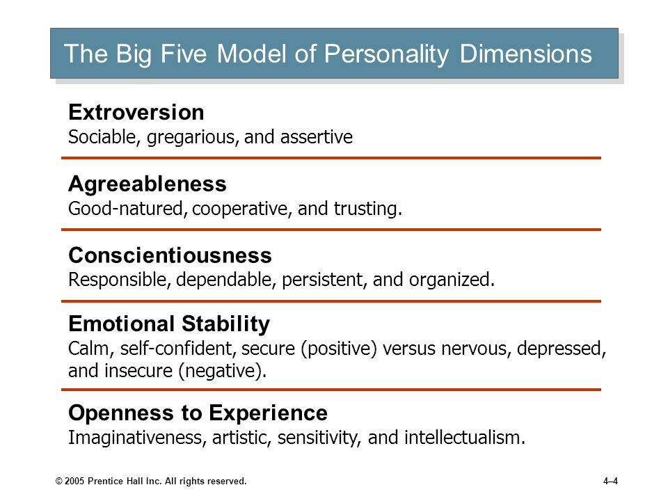 © 2005 Prentice Hall Inc. All rights reserved.4–4 The Big Five Model of Personality Dimensions Extroversion Sociable, gregarious, and assertive Agreea