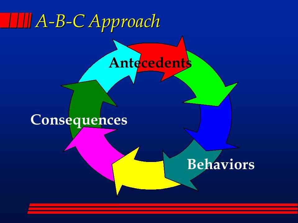 A-B-C Approach Antecedents Behaviors Consequences
