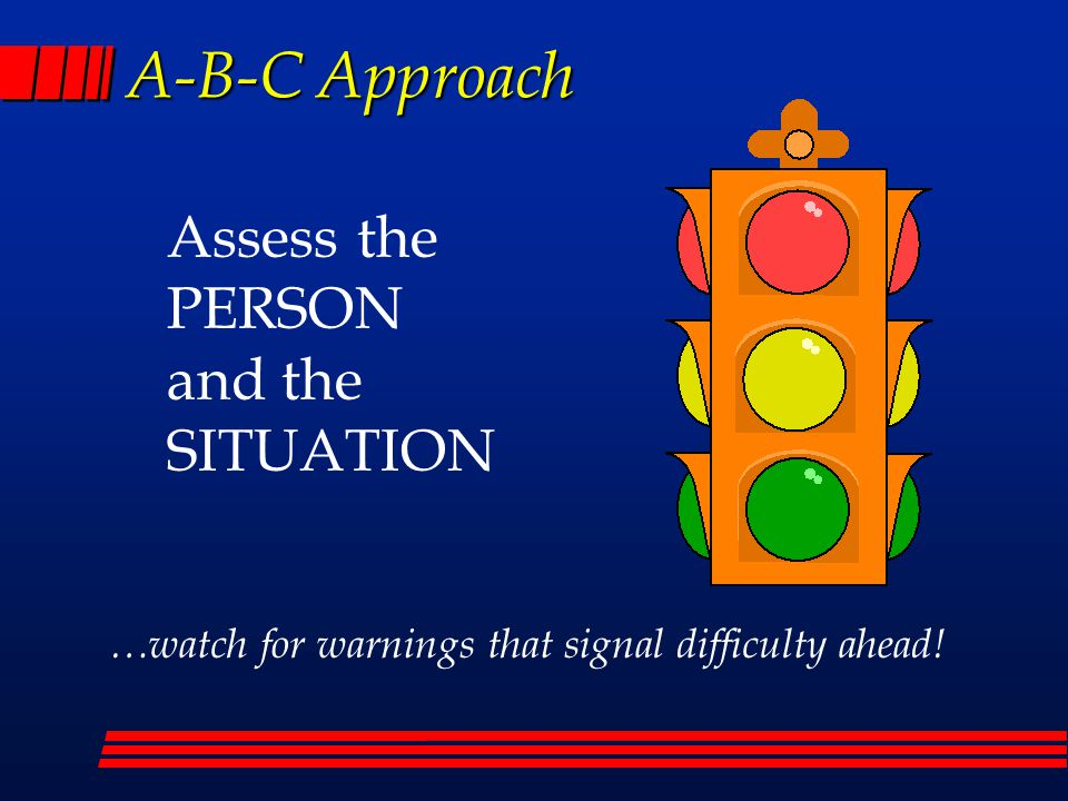 A-B-C Approach Assess the PERSON and the SITUATION …watch for warnings that signal difficulty ahead!