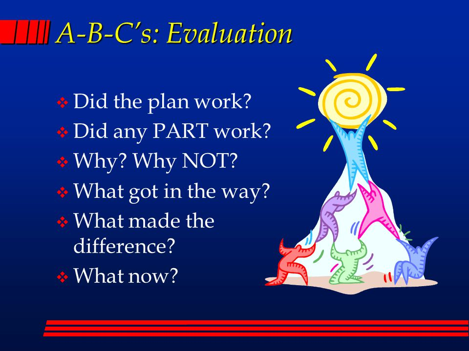 A-B-C's: Evaluation  Did the plan work.  Did any PART work.