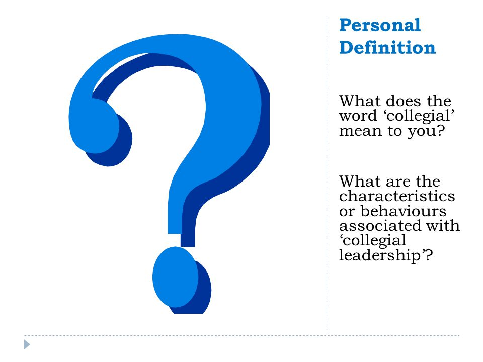 Collegial Leadership (Dr.