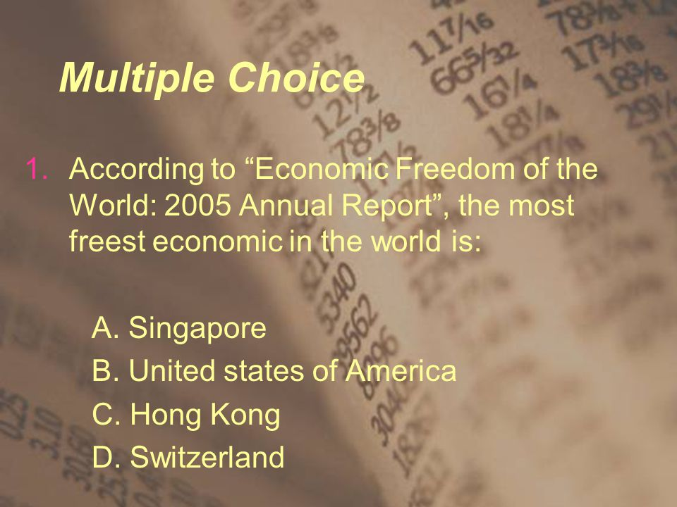 Multiple Choice 1.According to Economic Freedom of the World: 2005 Annual Report , the most freest economic in the world is: A.