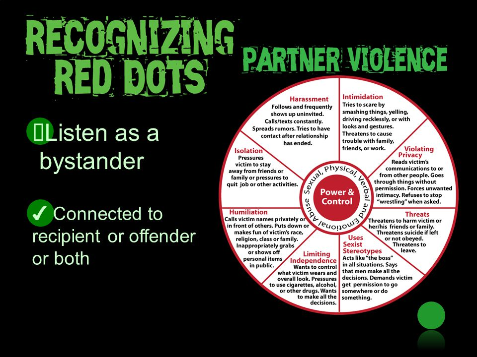 ✔ Connected to recipient or offender or both ✔ Listen as a bystander