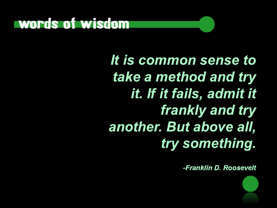 It is common sense to take a method and try it. If it fails, admit it frankly and try another. But above all, try something. -Franklin D. Roosevelt