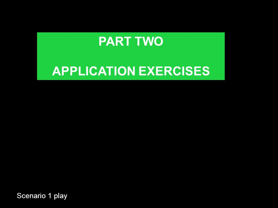 Scenario 1 play PART TWO APPLICATION EXERCISES