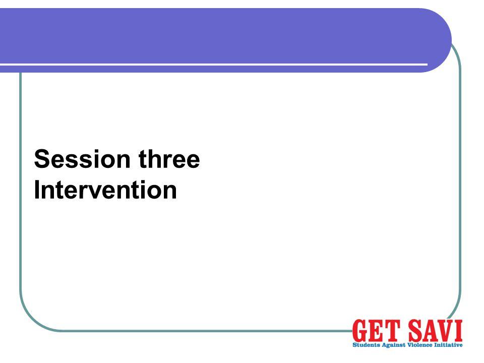 Session three Intervention