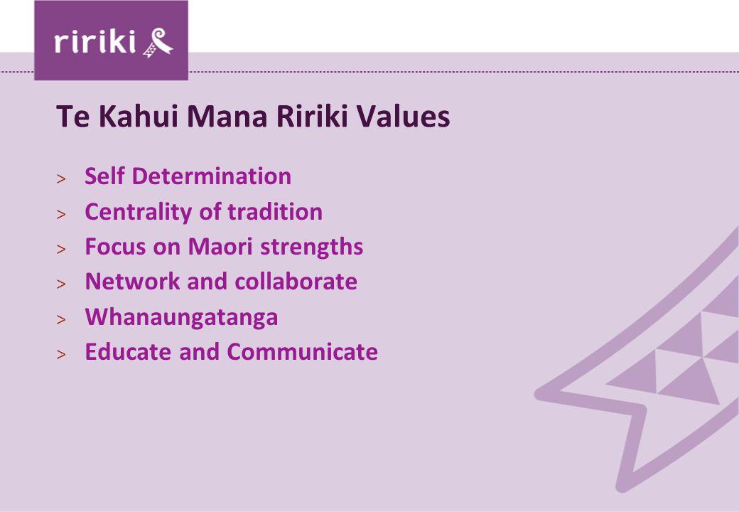 Te Kahui Mana Ririki Values > Self Determination > Centrality of tradition > Focus on Maori strengths > Network and collaborate > Whanaungatanga > Educate and Communicate