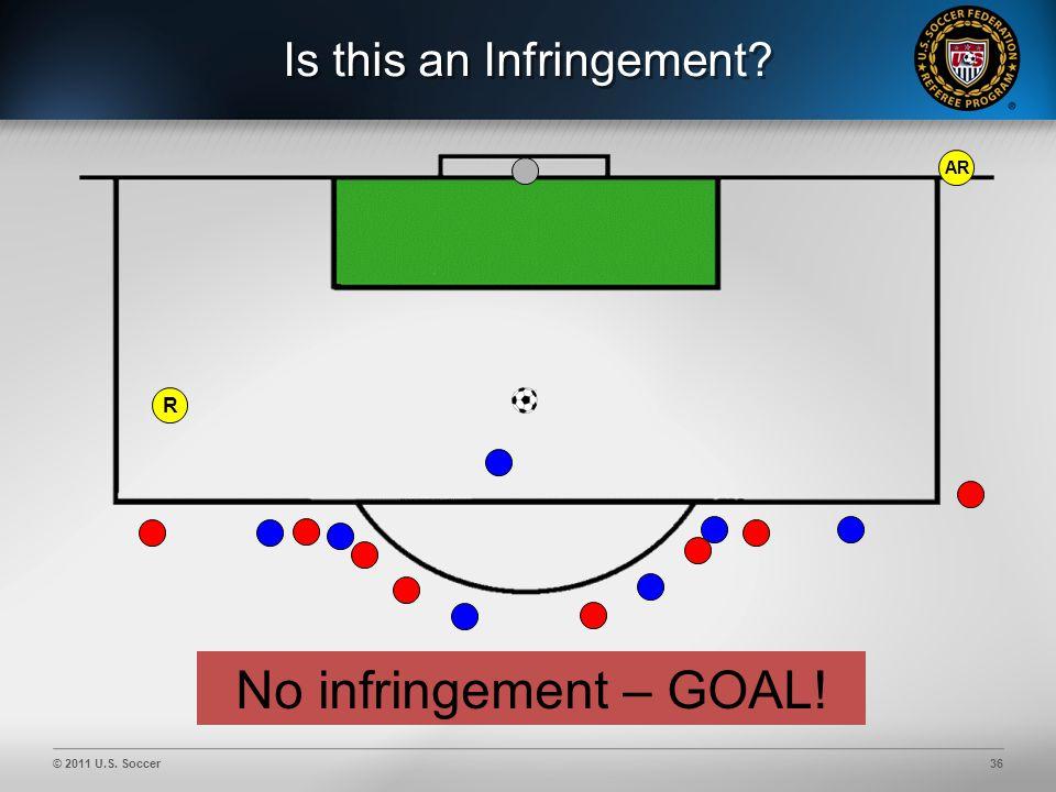 © 2011 U.S. Soccer36 Is this an Infringement AR No infringement – GOAL! R