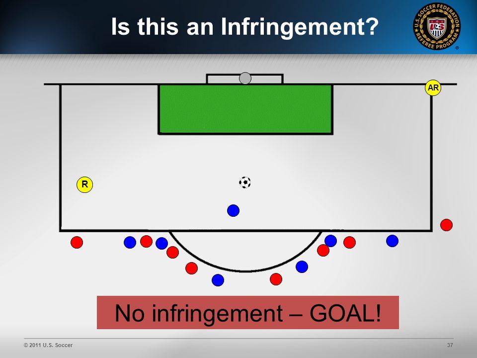 © 2011 U.S. Soccer37 AR Is this an Infringement No infringement – GOAL! R
