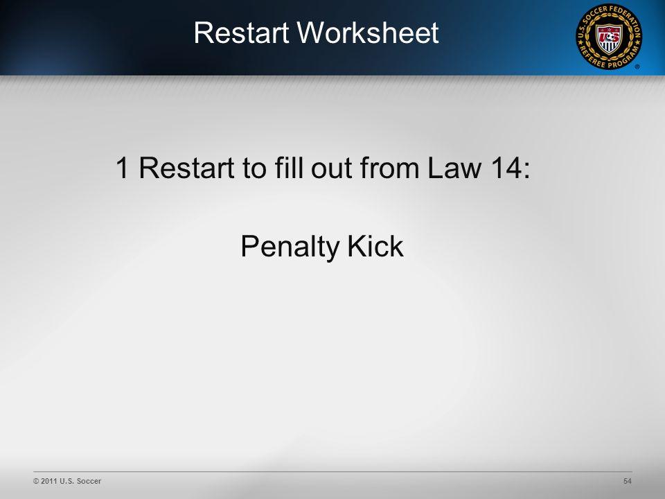 © 2011 U.S. Soccer54 Restart Worksheet 1 Restart to fill out from Law 14: Penalty Kick