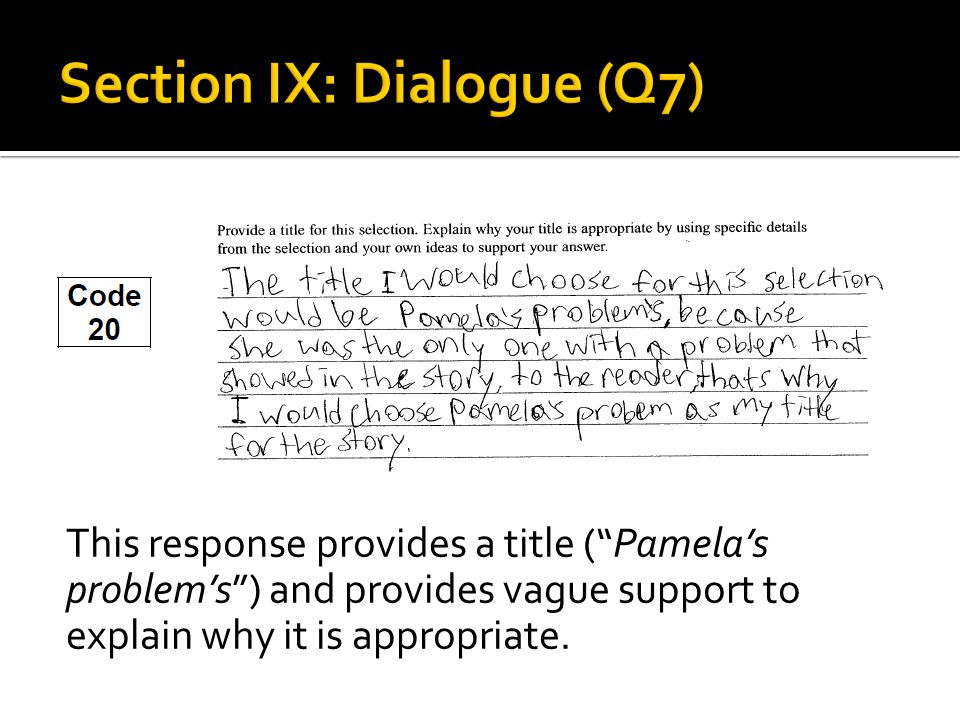 This response provides a title ( Pamela's problem's ) and provides vague support to explain why it is appropriate.
