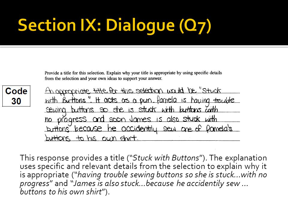 "This response provides a title (""Stuck with Buttons""). The explanation uses specific and relevant details from the selection to explain why it is appr"