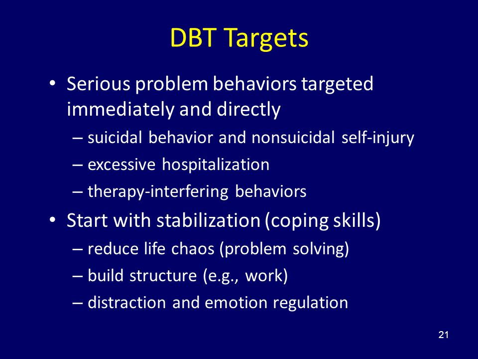 21 DBT Targets Serious problem behaviors targeted immediately and directly – suicidal behavior and nonsuicidal self-injury – excessive hospitalization