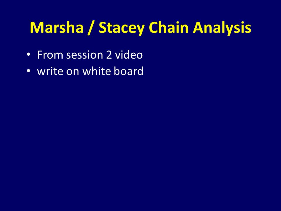 Marsha / Stacey Chain Analysis From session 2 video write on white board