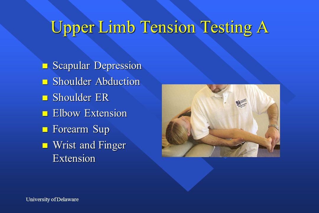 University of Delaware Upper Limb Tension Testing A n Scapular Depression n Shoulder Abduction n Shoulder ER n Elbow Extension n Forearm Sup n Wrist a
