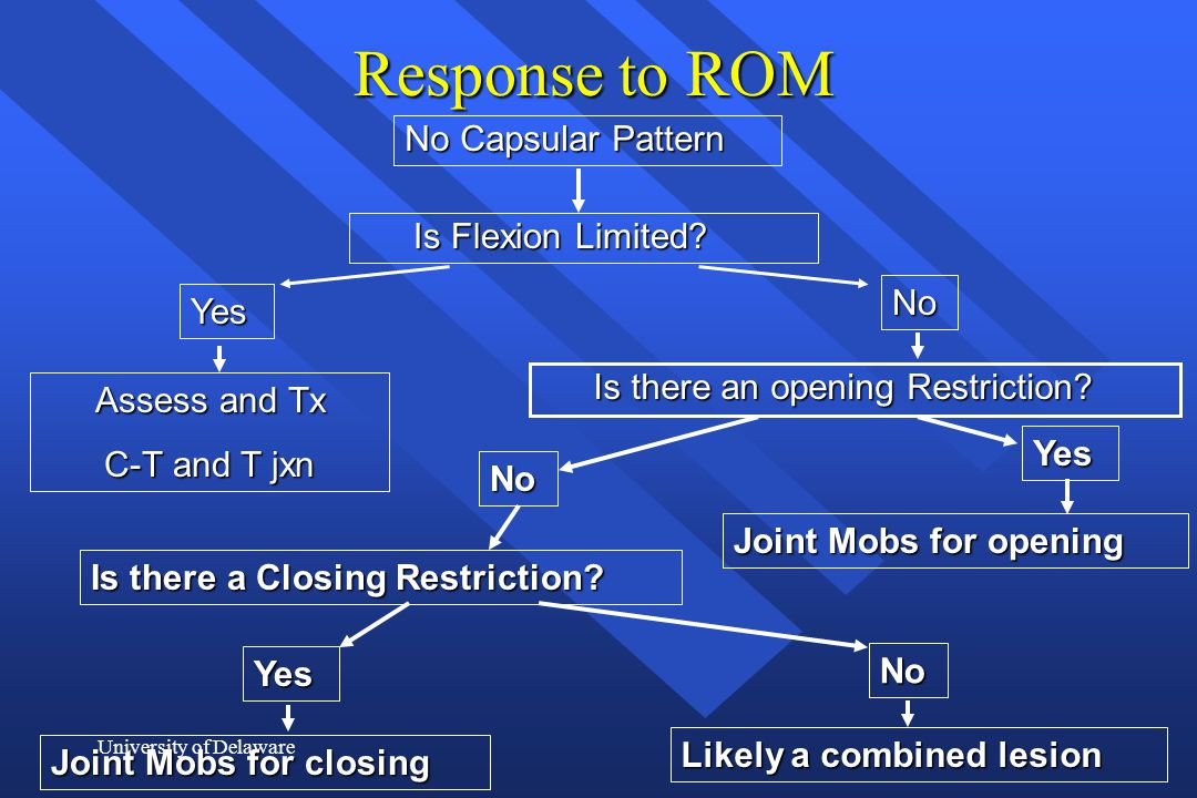 University of Delaware Response to ROM No Capsular Pattern Is Flexion Limited? Yes No Assess and Tx C-T and T jxn Is there an opening Restriction? Yes