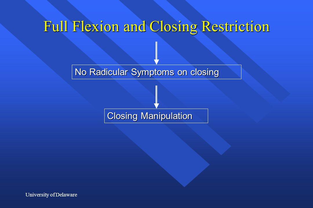 University of Delaware Full Flexion and Closing Restriction No Radicular Symptoms on closing Closing Manipulation