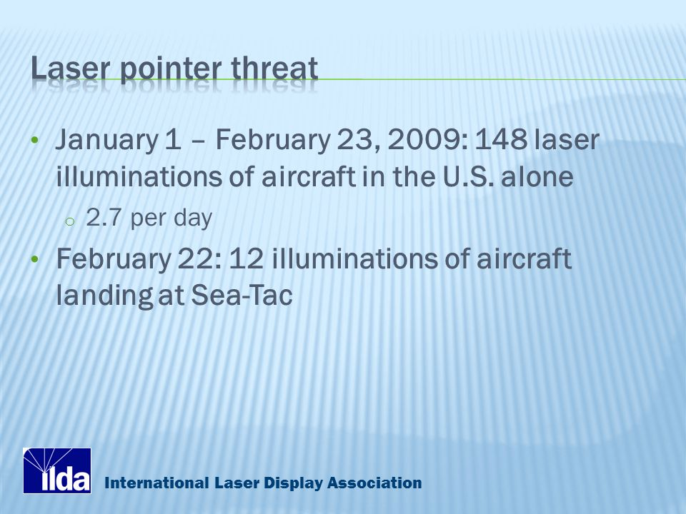 International Laser Display Association January 1 – February 23, 2009: 148 laser illuminations of aircraft in the U.S.