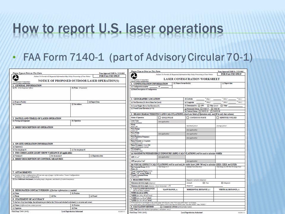 International Laser Display Association FAA Form 7140-1 (part of Advisory Circular 70-1)