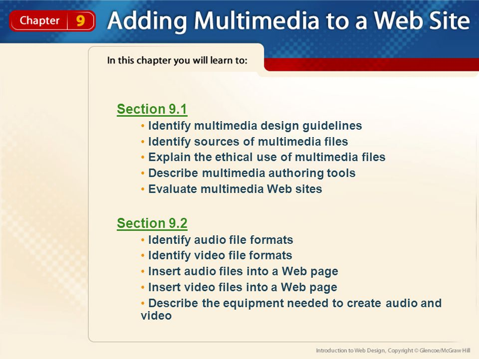 Section 9.1 Identify multimedia design guidelines Identify sources of multimedia files Explain the ethical use of multimedia files Describe multimedia authoring tools Evaluate multimedia Web sites Section 9.2 Identify audio file formats Identify video file formats Insert audio files into a Web page Insert video files into a Web page Describe the equipment needed to create audio and video
