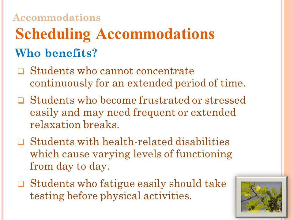 Who benefits.  Students who cannot concentrate continuously for an extended period of time.