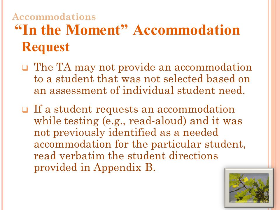  The TA may not provide an accommodation to a student that was not selected based on an assessment of individual student need.