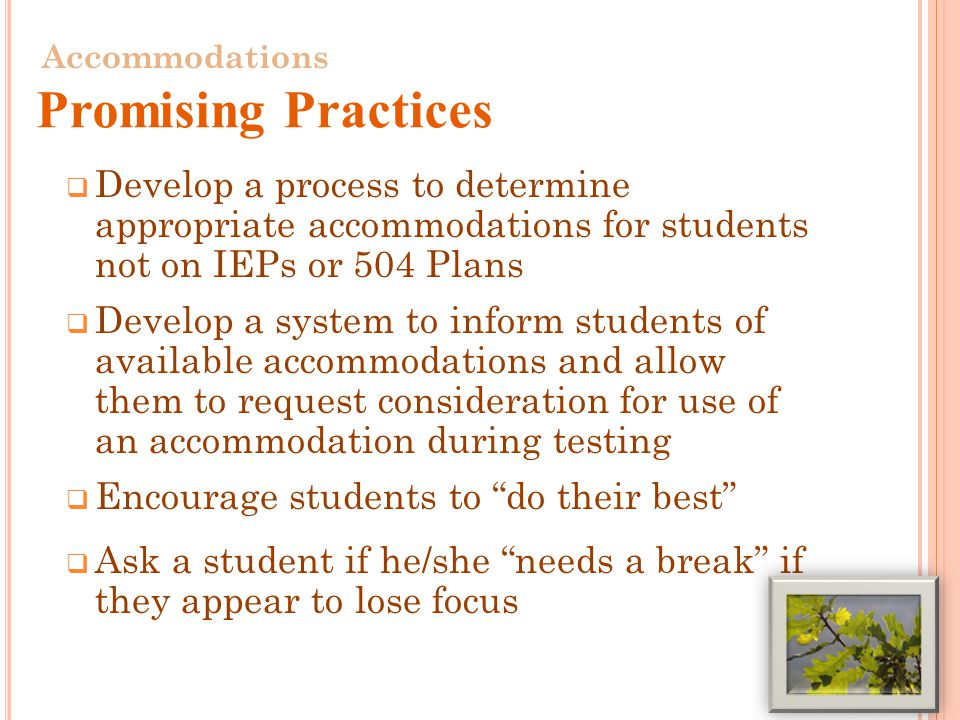  Develop a process to determine appropriate accommodations for students not on IEPs or 504 Plans  Develop a system to inform students of available accommodations and allow them to request consideration for use of an accommodation during testing  Encourage students to do their best  Ask a student if he/she needs a break if they appear to lose focus 27 Accommodations Promising Practices