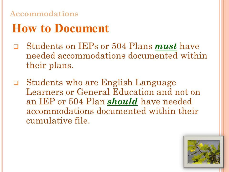  Students on IEPs or 504 Plans must have needed accommodations documented within their plans.