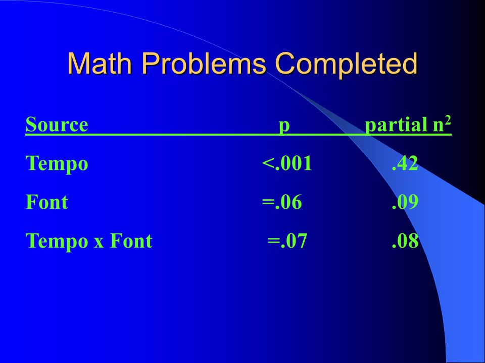 2 X 2 Factorial Design Between Subjects Variable 1: Tempo Acceleration or Tempo Deceleration Between Subjects Variable 2: Consistent Font or Inconsistent Font Dependent Variable 1: Math Problems Completed Dependent Variable 2: Math Accuracy