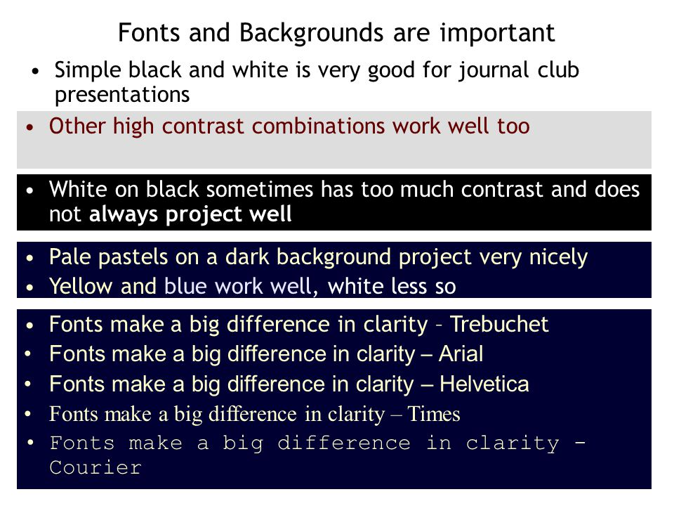 Selecting fonts Fonts make a big difference in clarity – Trebuchet Fonts make a big difference in clarity – Arial Fonts make a big difference in clarity – Helvetica Fonts make a big difference in clarity – Times Fonts make a big difference in clarity – Courier Red text is to be avoided except for emphasis as it draws the eye Fluorescent colors are also to be avoided as they distract the audience Bold text does not project well when blown up as in a large meeting hall Bold white text is a complete disaster Particularly with serif fonts like Times