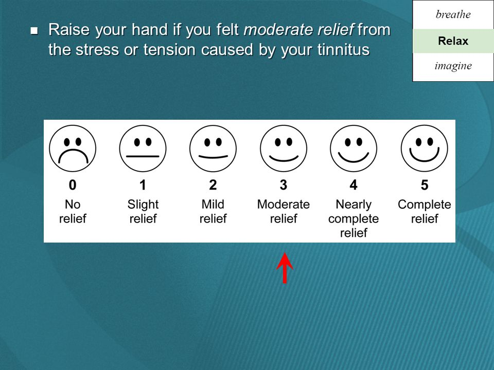 Raise your hand if you felt moderate relief from the stress or tension caused by your tinnitus