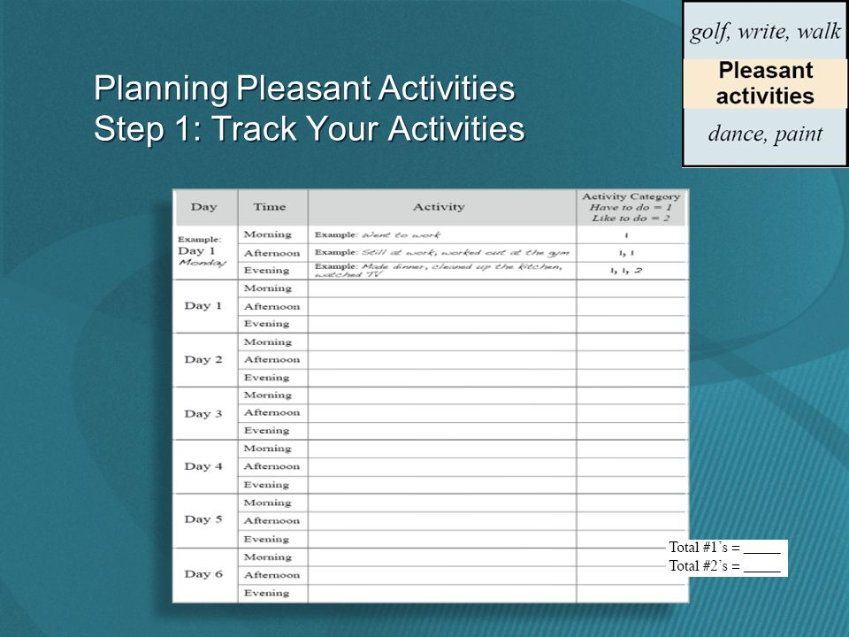 Planning Pleasant Activities Step 1: Track Your Activities