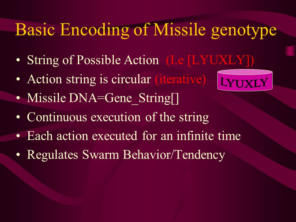 Basic Encoding of Missile genotype String of Possible Action (I.e [LYUXLY]) Action string is circular (iterative) Missile DNA=Gene_String[] Continuous execution of the string Each action executed for an infinite time Regulates Swarm Behavior/Tendency
