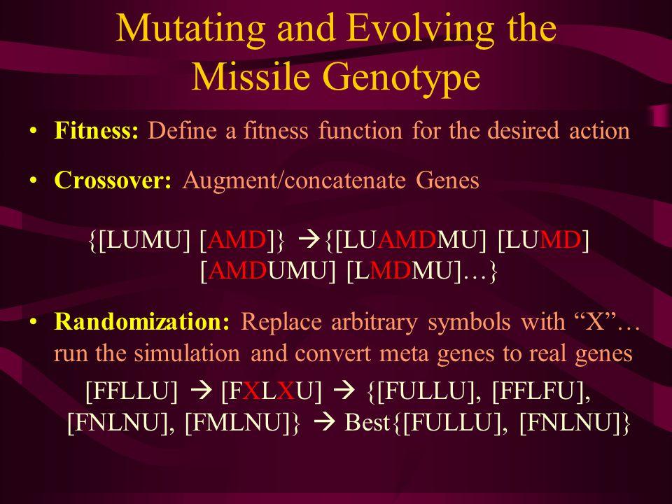 Mutating and Evolving the Missile Genotype Fitness: Define a fitness function for the desired action Crossover: Augment/concatenate Genes {[LUMU] [AMD]}  {[LUAMDMU] [LUMD] [AMDUMU] [LMDMU]…} Randomization: Replace arbitrary symbols with X … run the simulation and convert meta genes to real genes [FFLLU]  [FXLXU]  {[FULLU], [FFLFU], [FNLNU], [FMLNU]}  Best{[FULLU], [FNLNU]}