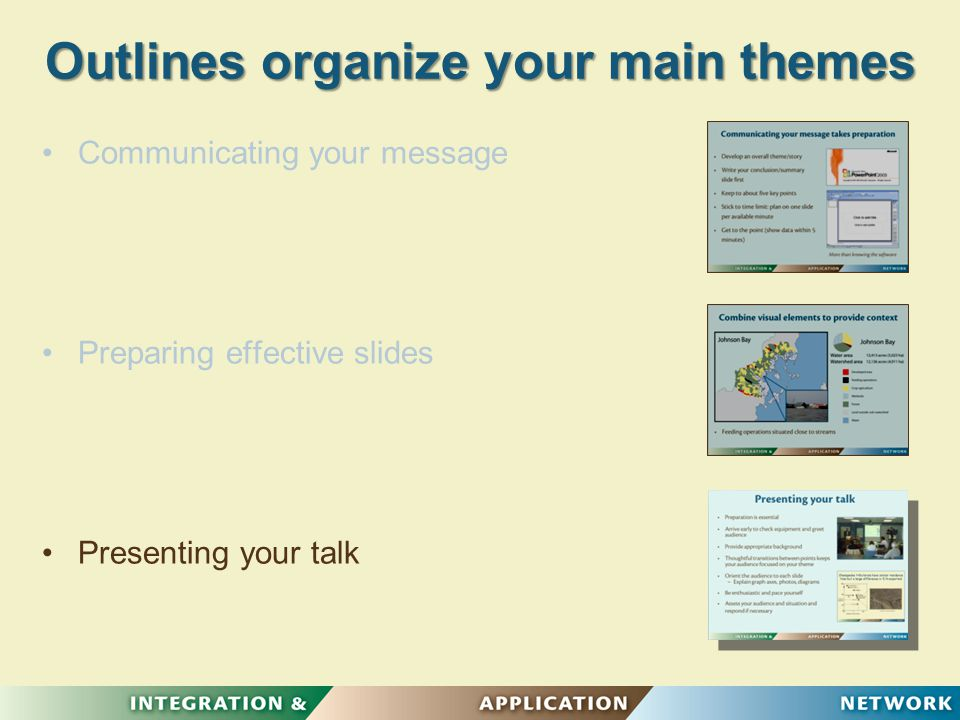 Outlines organize your main themes Communicating your message Preparing effective slides Presenting your talk