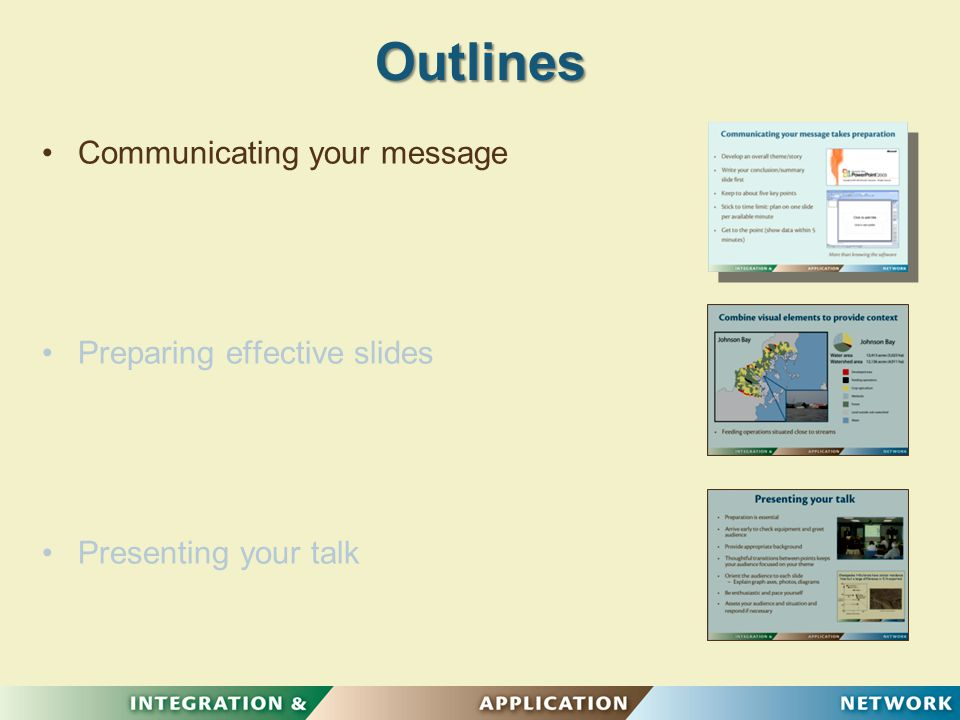 Communicating your message takes preparation Develop an overall theme/story Connect your main themes Keep to about five key points Target your audience More than knowing the software