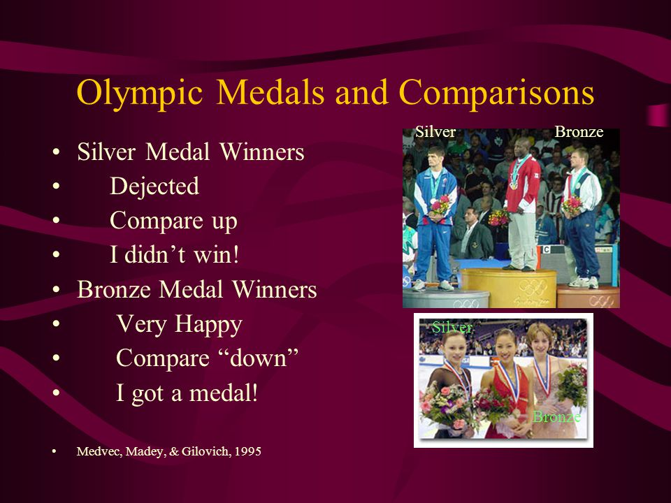 Olympic Medals and Comparisons Silver Medal Winners Dejected Compare up I didn't win.