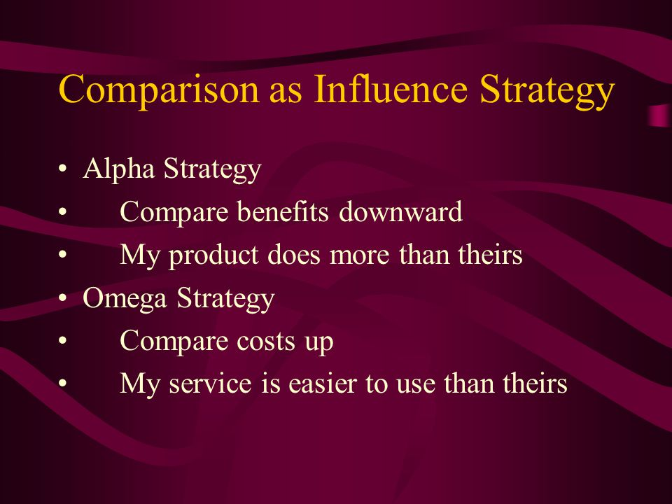Comparison as Influence Strategy Alpha Strategy Compare benefits downward My product does more than theirs Omega Strategy Compare costs up My service is easier to use than theirs