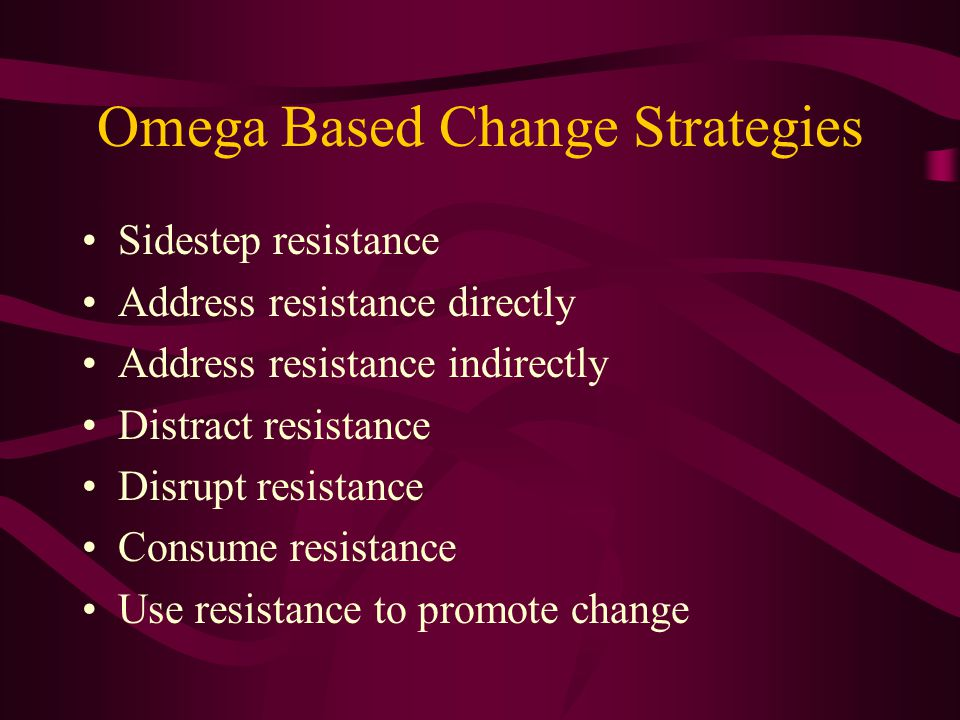 Address Resistance Directly With Information Identify sources of resistance.