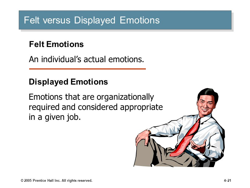 © 2005 Prentice Hall Inc. All rights reserved.4–21 Felt versus Displayed Emotions Felt Emotions An individual's actual emotions. Displayed Emotions Em