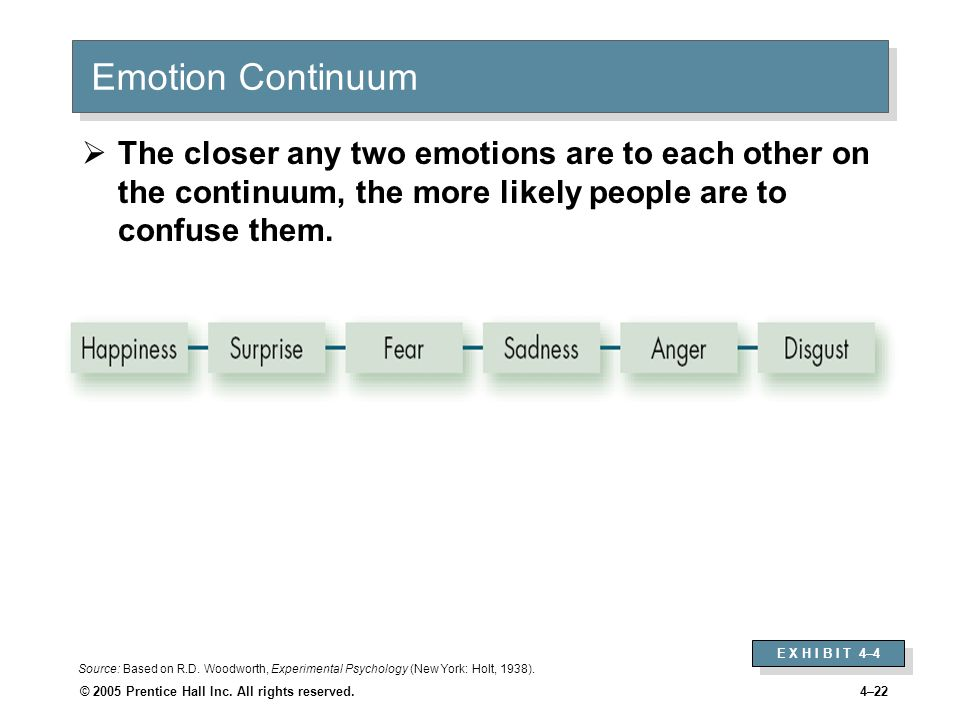 © 2005 Prentice Hall Inc. All rights reserved.4–22 Emotion Continuum  The closer any two emotions are to each other on the continuum, the more likely