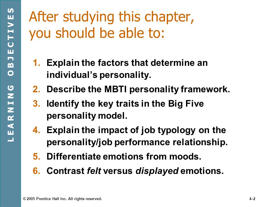 © 2005 Prentice Hall Inc.All rights reserved.4–13 Personality Types Type A's 1.