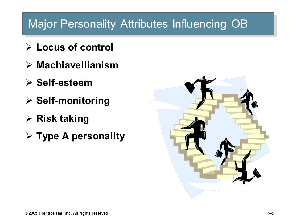 © 2005 Prentice Hall Inc. All rights reserved.4–8 Major Personality Attributes Influencing OB  Locus of control  Machiavellianism  Self-esteem  Se