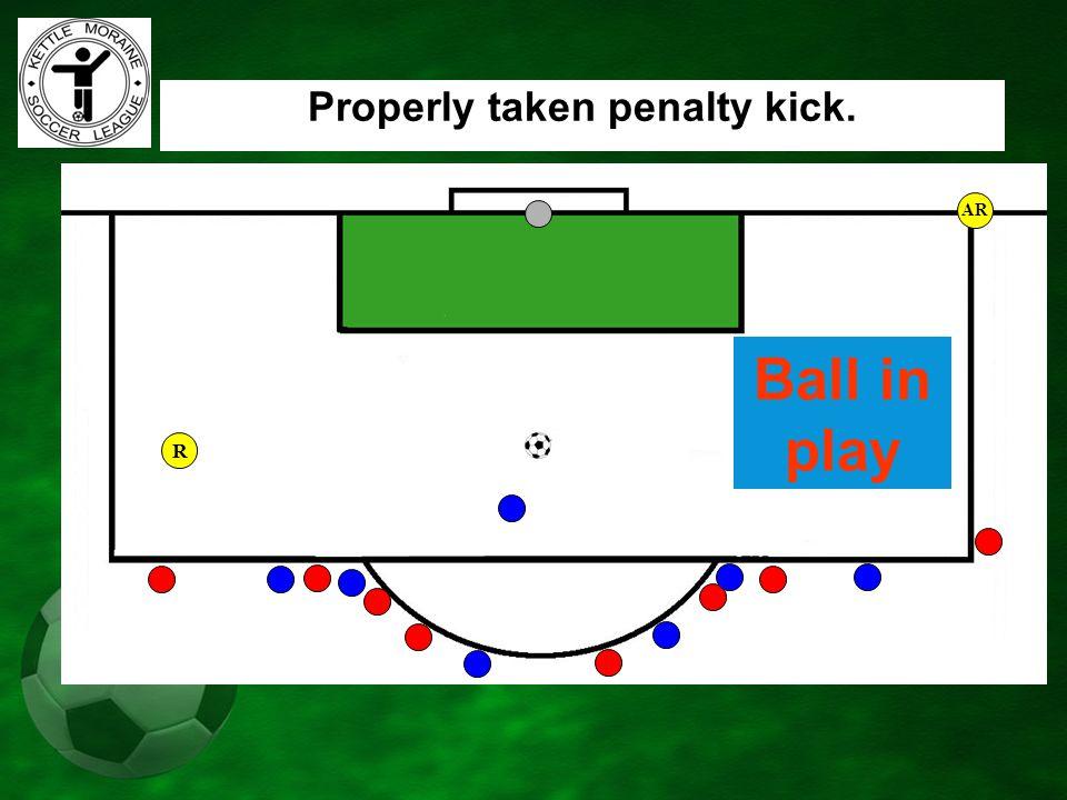 AR Properly taken penalty kick. Ball in play R