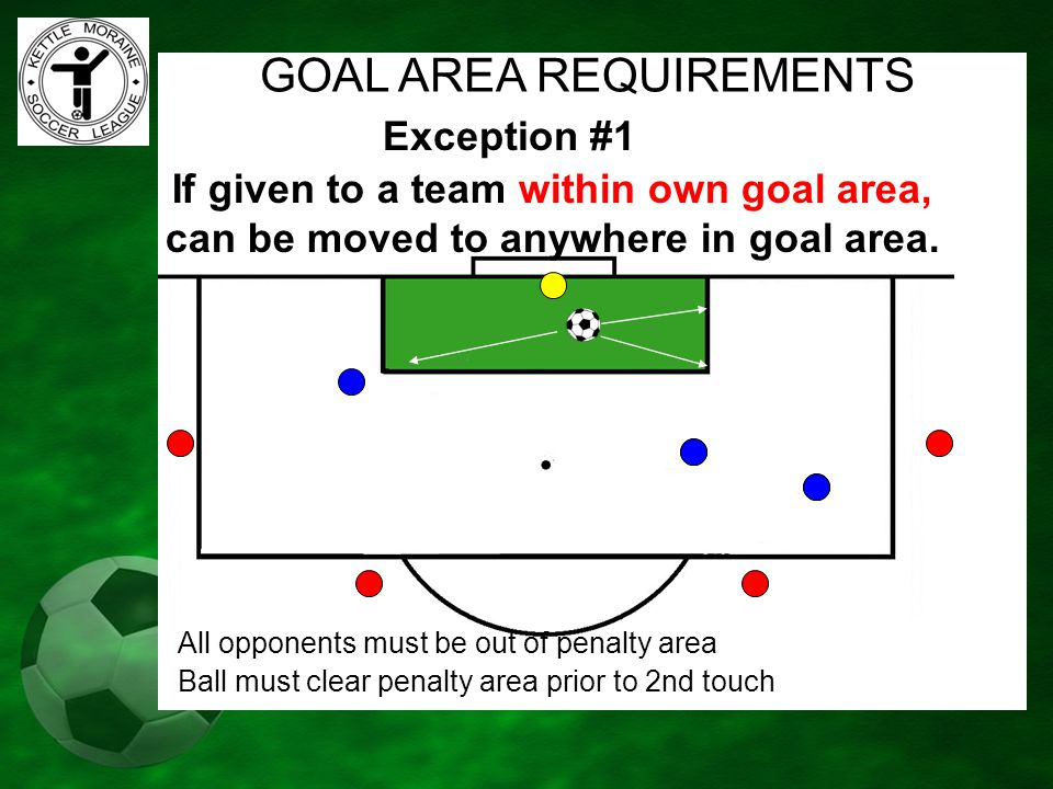 If given to a team within own goal area, can be moved to anywhere in goal area. Exception #1 GOAL AREA REQUIREMENTS All opponents must be out of penal