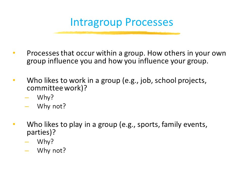 Intragroup Processes Processes that occur within a group.