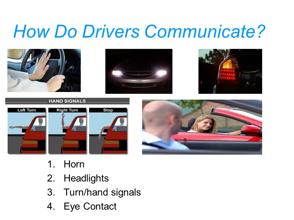 How Do Drivers Communicate? 1.Horn 2.Headlights 3.Turn/hand signals 4.Eye Contact