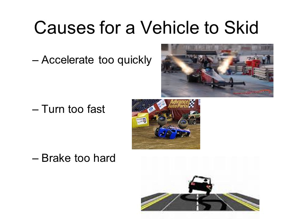 Causes for a Vehicle to Skid –Accelerate too quickly –Turn too fast –Brake too hard